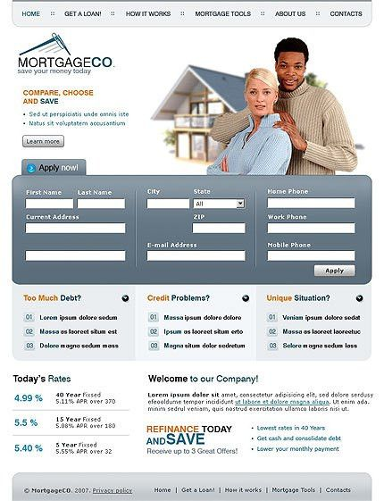 Buy Mortgage Company Website Template #530 at Website Templates.bz