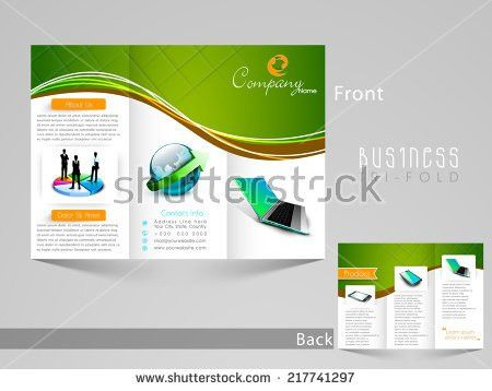 Business Tri Fold Brochure Design Green Stock Vector 645526210 ...