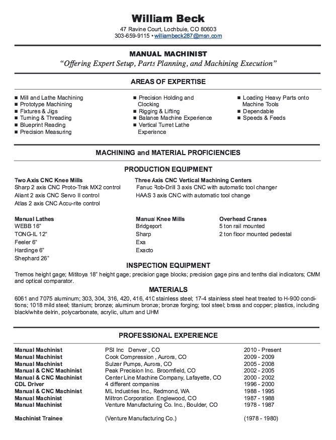 New CNC Machinist Resume Samples - http://resumesdesign.com/new ...