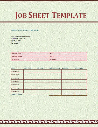 Job Sheet Template | Free Printable Word Templates,