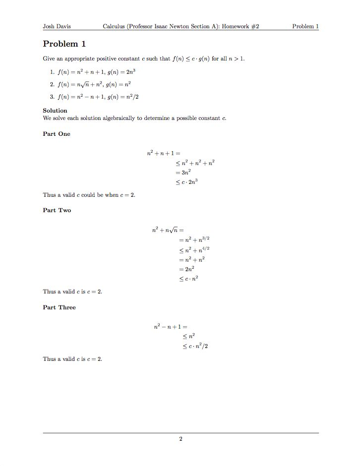Doing Your Homework in LaTeX - Josh Davis