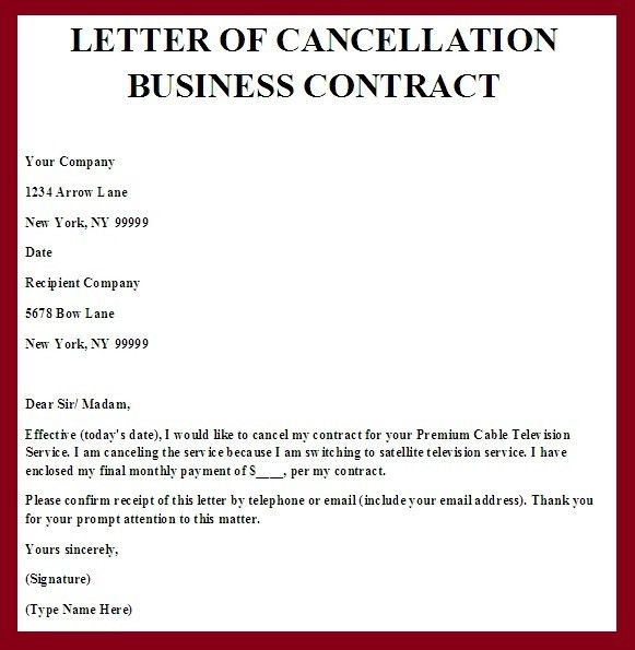 cancel service letter