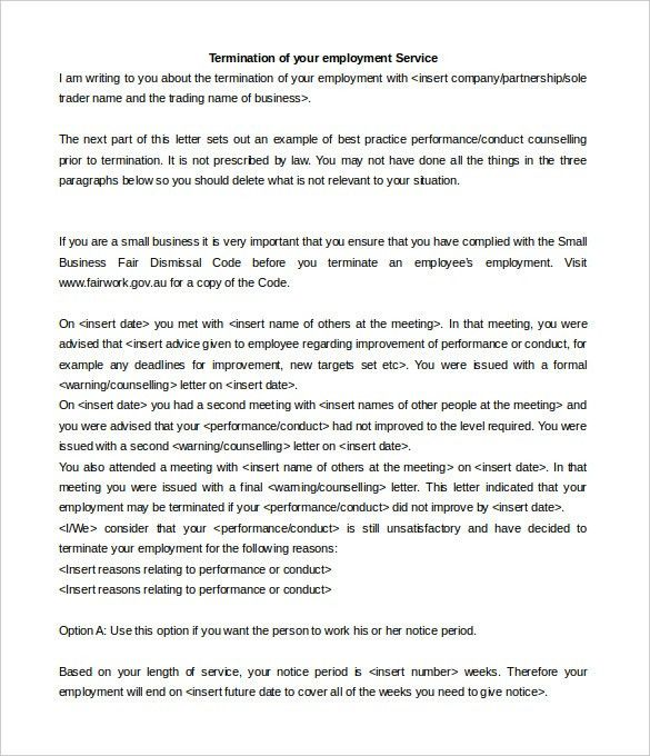 Service Termination Letter - 8+ Free Word, PDF Documents Download ...