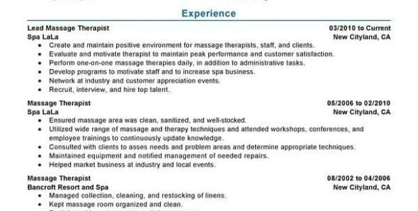 Massage Therapist Resume Objective Resume Examples For Massage .