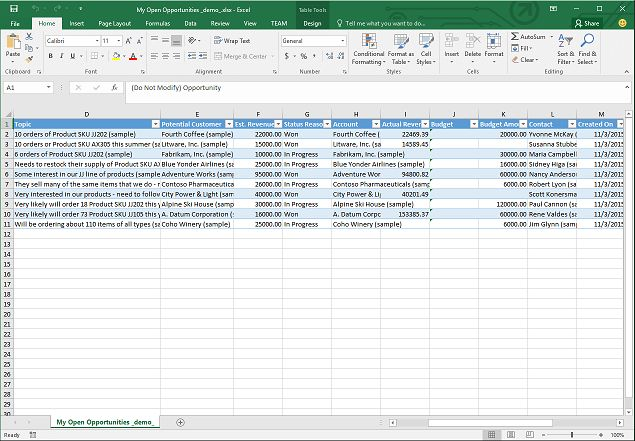 Analyze your data with Excel templates | Microsoft Dynamics 365