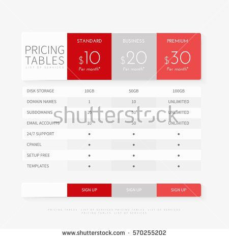 Price Chart Template. Pricing Plan Comparison Set For Commercial ...