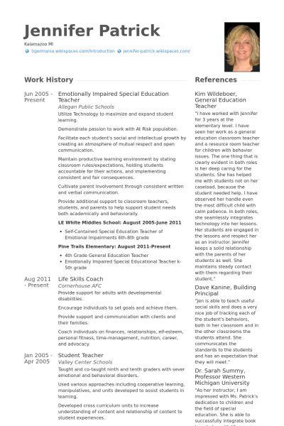 Special Education Teacher Resume samples - VisualCV resume samples ...