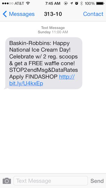 Baskin Robbin's Celebrates National Ice Cream Day with Text ...