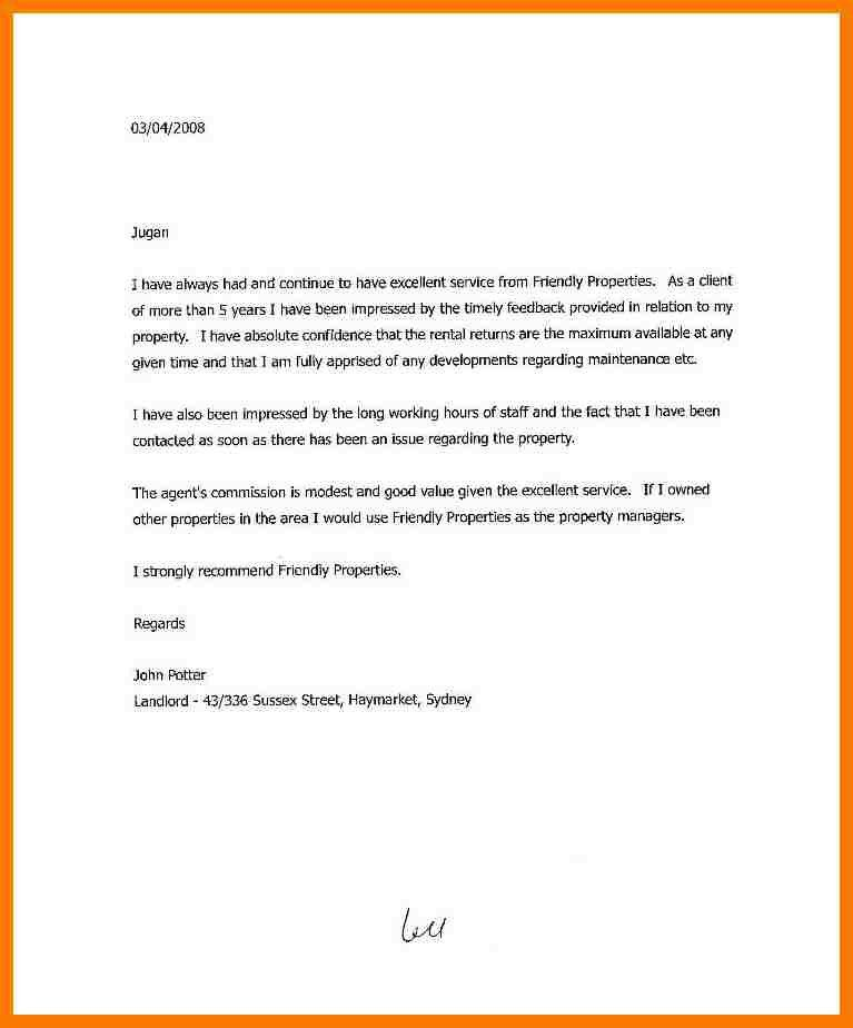 Landlord Recommendation Letter Sample. Landlord Reference Letter ...