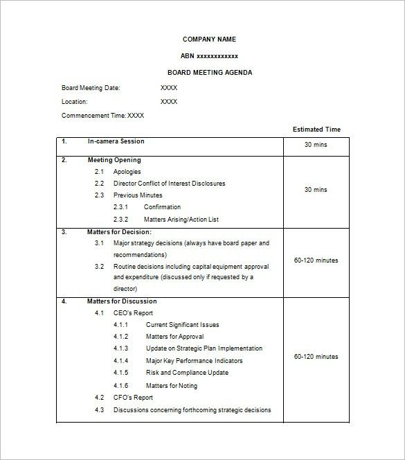 free meeting agenda template word