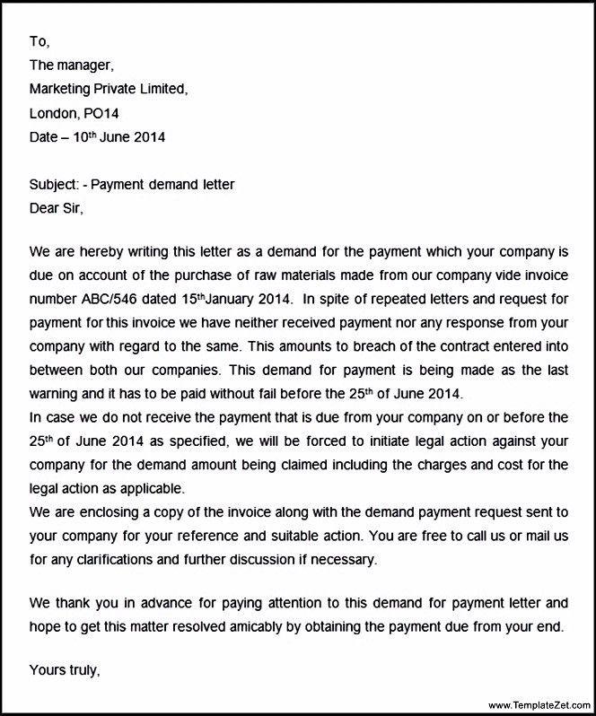 Letter for Payment | TemplateZet