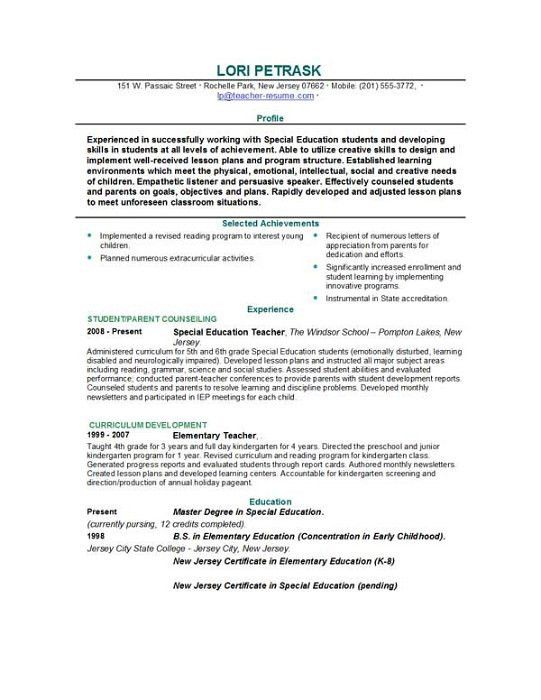 special education teacher resume sample. teachers resume samples ...