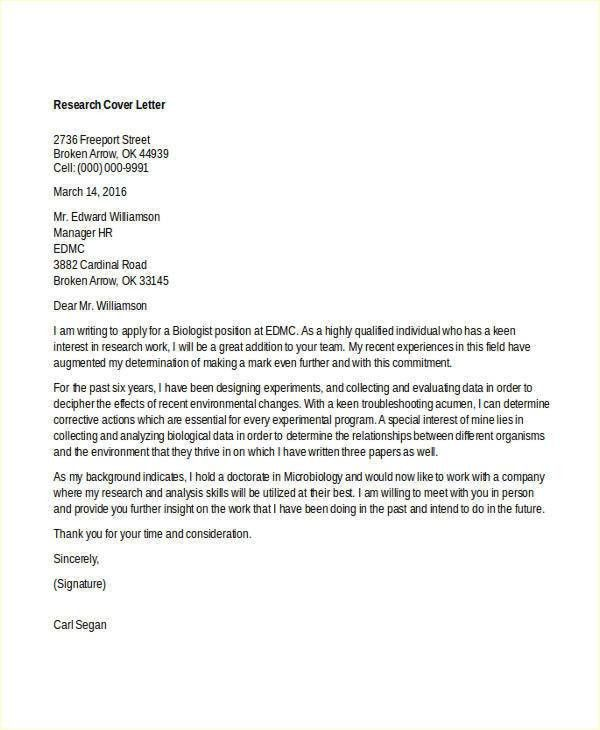 8+ Biology Cover Letters - Free Word, PDF Format Download | Free ...