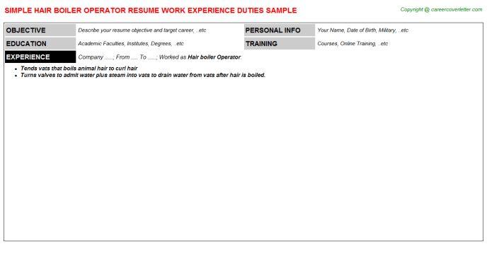 Hair Boiler Operator Job Title Docs