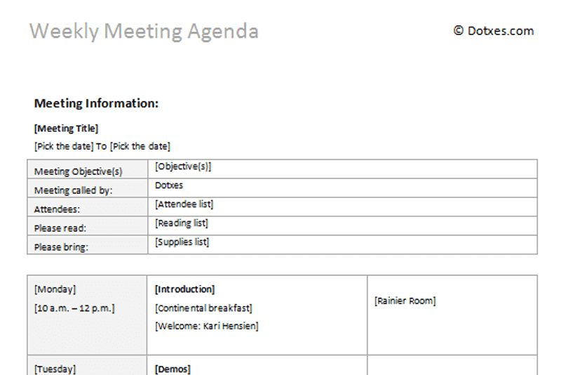 Weekly meeting agenda template - Dotxes