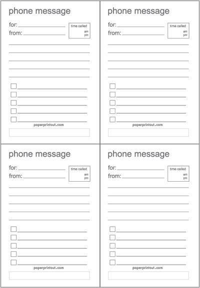 "Free Printable ""While You Were Out"" Phone Message Sheets 