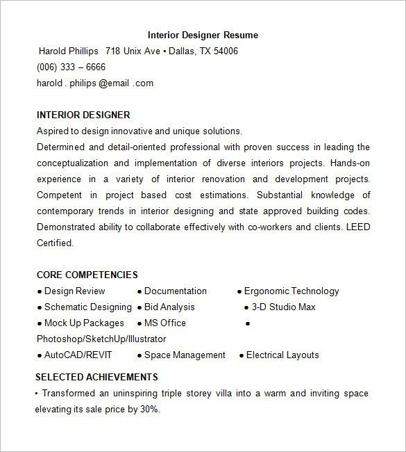 Designer Resume Template – 8+ Free Samples, Examples, Format ...