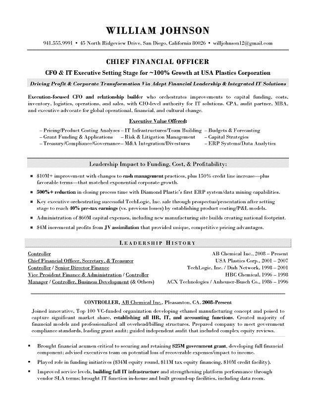 cfo resume chief financial officer resume samples mary. find this ...
