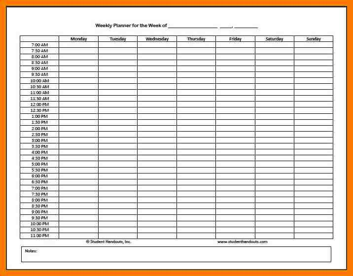 weekly planner with times