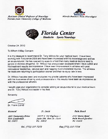 Letters of Recommendation | Dr. Tony Willcox D.O.M., A.P. | 561 ...