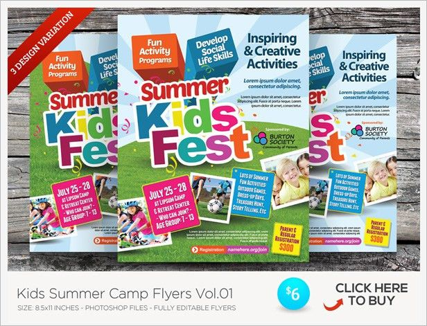 Kids Summer Camp Flyer Templates by kinzishots | GraphicRiver
