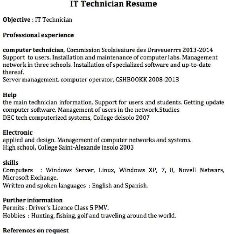 resume it technician resume cv cover letter. sample resume of ...