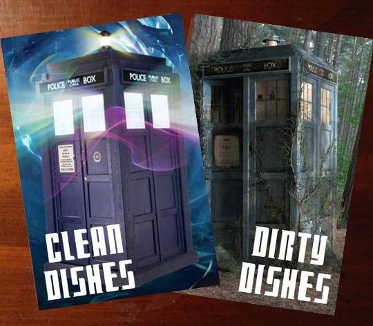 Doctor Who Tardis Reversible Magnetic Dishwasher Sign Geek