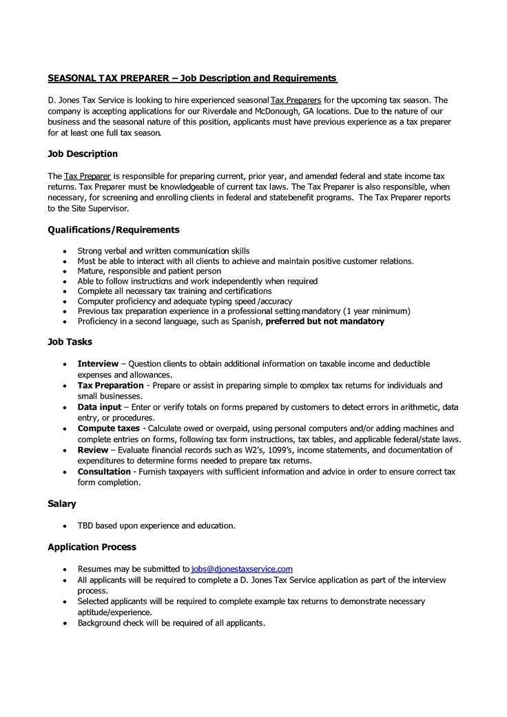 tax preparer resume