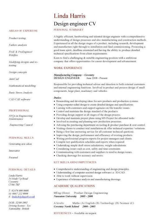 Engineering CV template, engineer, manufacturing, resume, industry ...