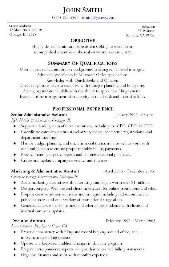 old version. executive administrative assistant resume by ...