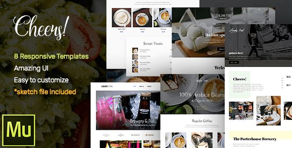 Cheers! Food & Restaurant Responsive Muse Templates by roseathemes