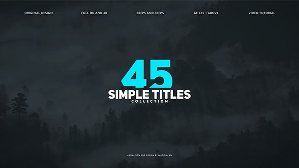 VIDEOHIVE 45 SIMPLE TITLES FREE AFTER EFFECTS TEMPLATE - Free ...