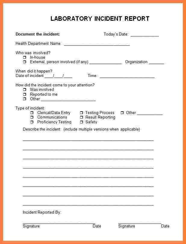 4+ hospital incident report form template | Progress Report