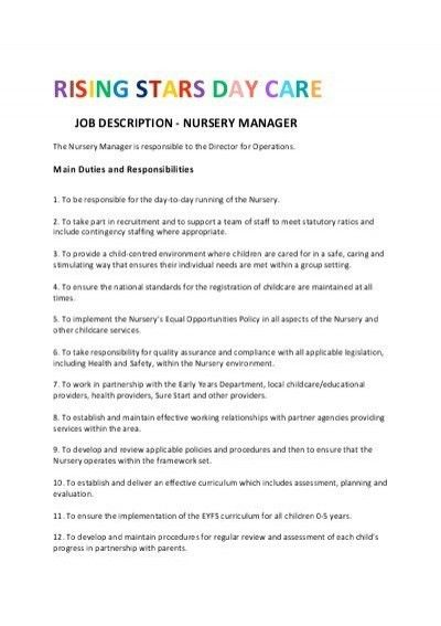 rising stars day care job description - nursery manager