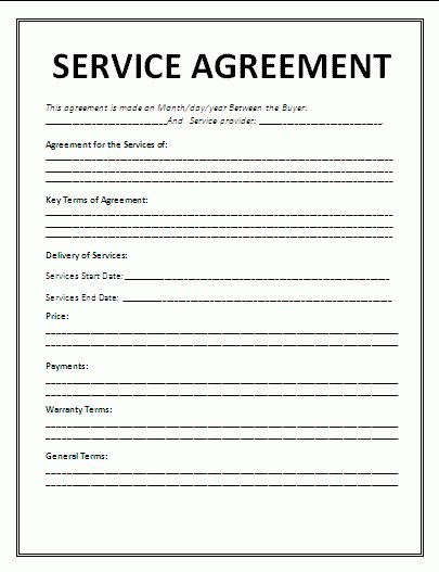 7+ Service Agreement Contract Template | Timeline Template