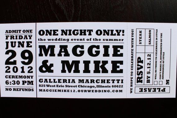Concert ticket wedding invitation by HobartandHaven on Etsy, $3.50 ...