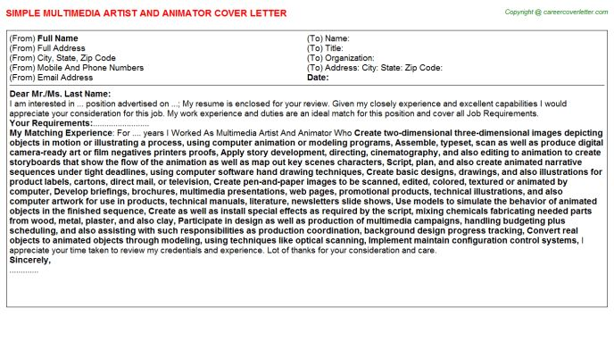 Multimedia Artist And Animator Cover Letter