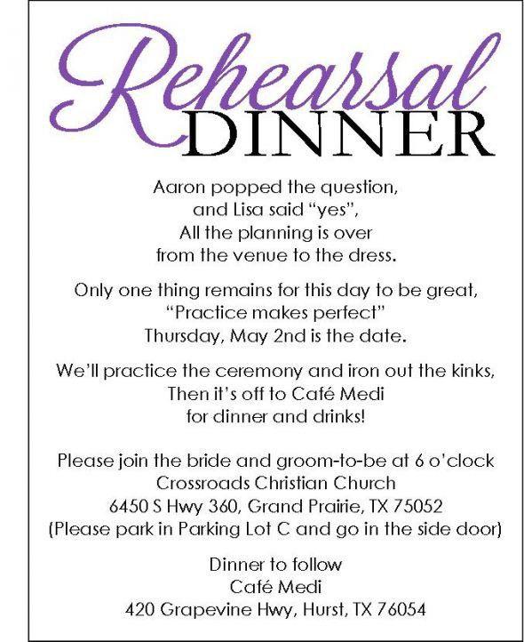 Rehearsal Dinner Invitation Wording | badbrya.com