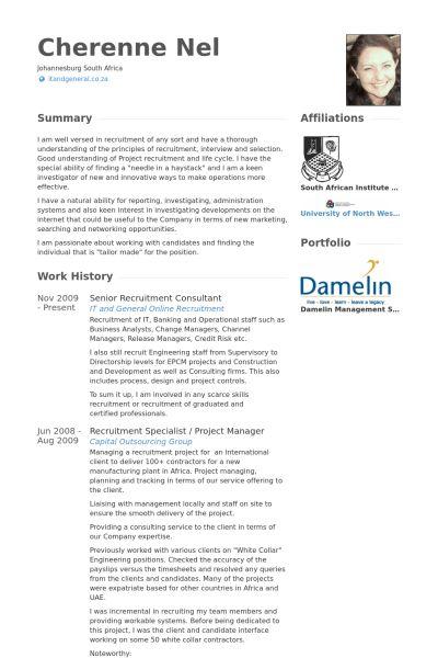 Recruitment Consultant Resume samples - VisualCV resume samples ...