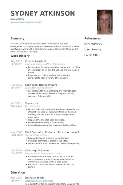 Clerical Assistant Resume samples - VisualCV resume samples database