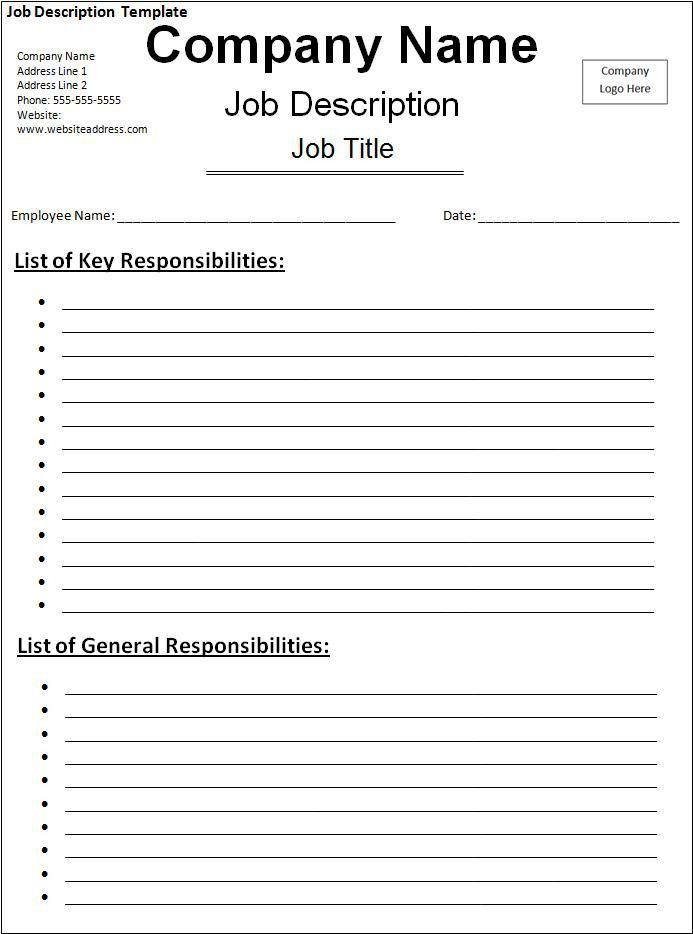 Job Description Template | Free Word Templates