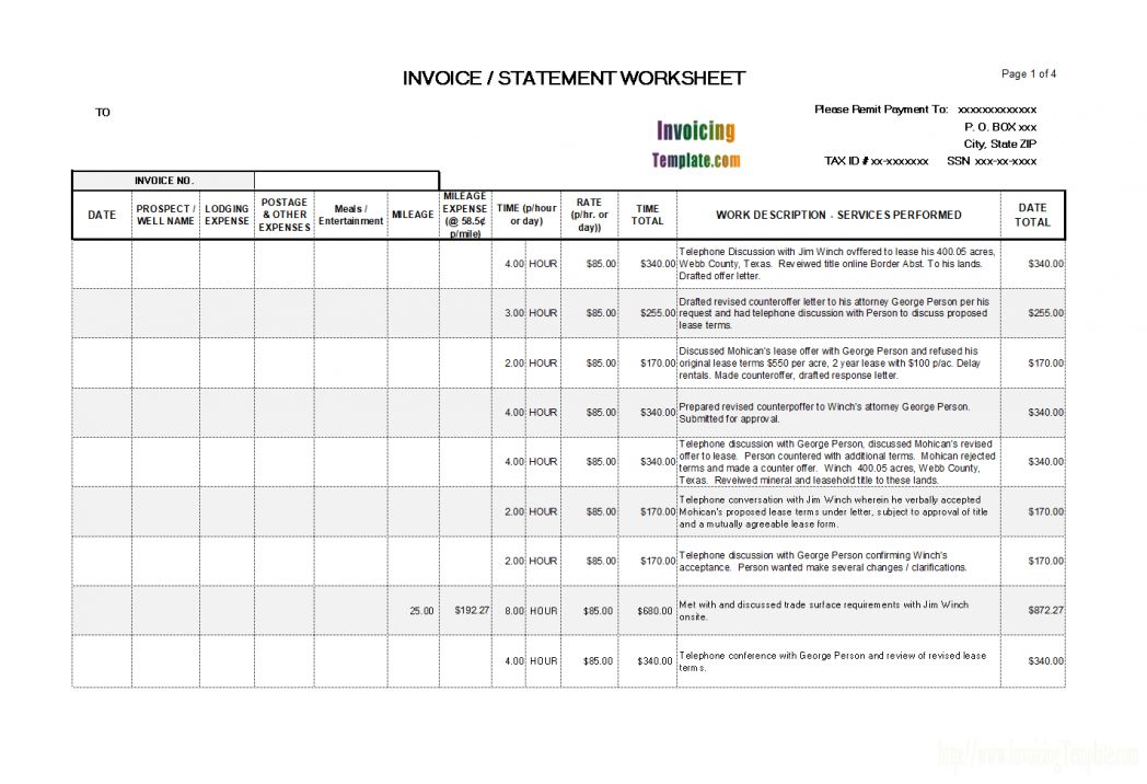 Invoice Template Payment Terms Free Printable Standard Expense ...