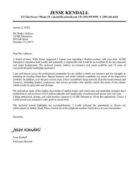 Real Estate Offer Cover Letter | The Letter Sample