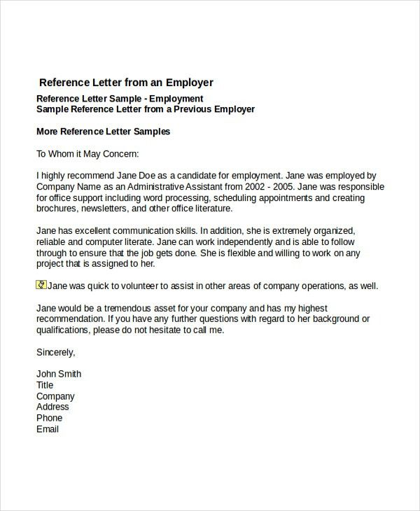 Employment Reference Letters. Job Reference Letter From Employer 6 ...