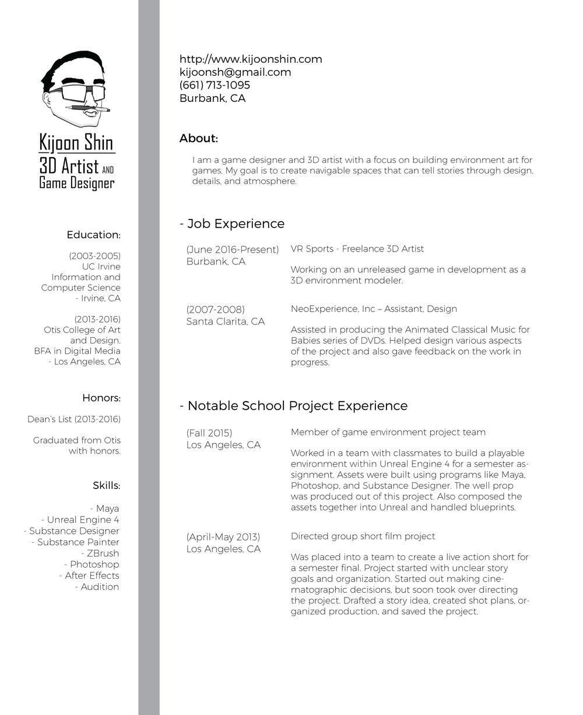 Resume — Kijoon Shin - 3D Artist and Game Designer