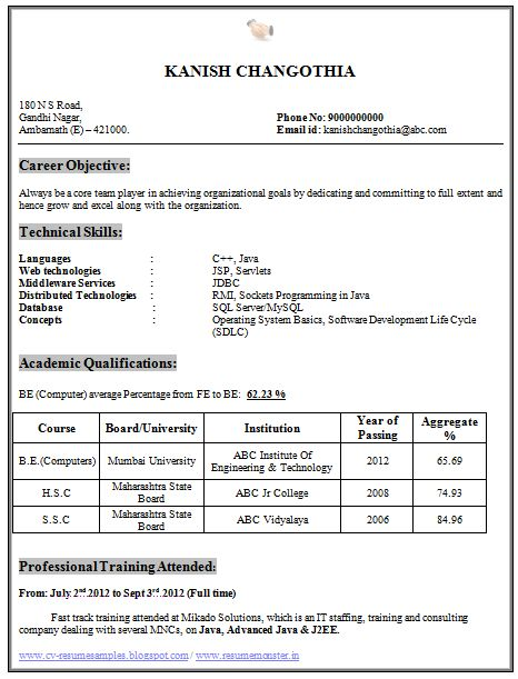 Captivating Resume Format For Freshers Computer Science Engineers ...