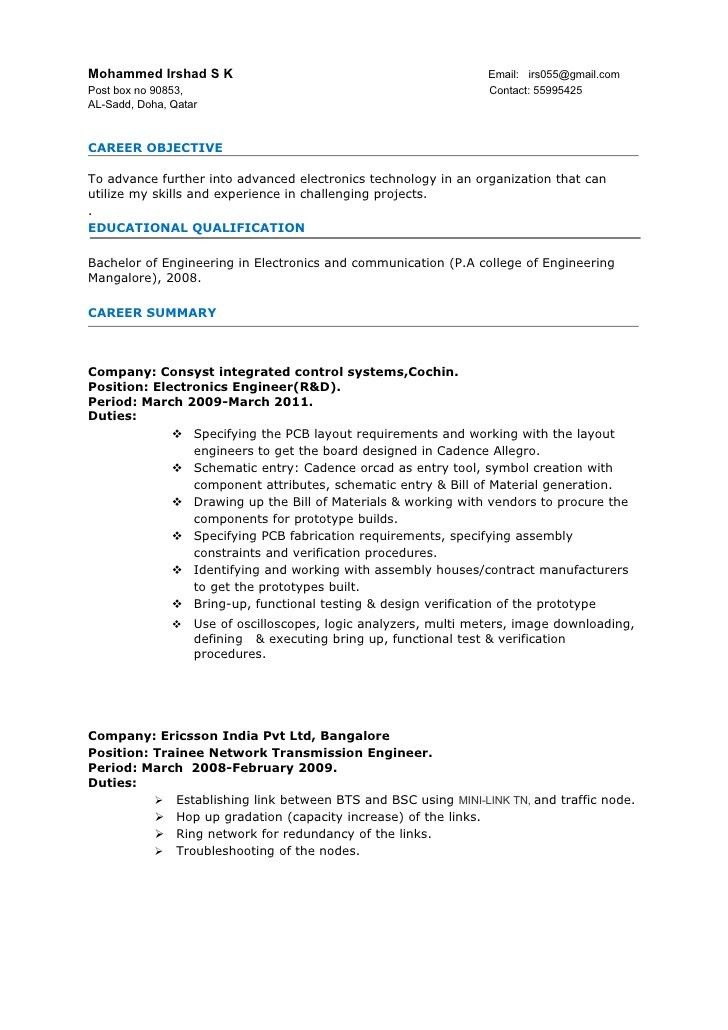 Sample Resume Format For Experienced Engineers - Gallery ...