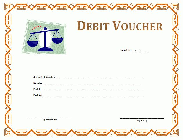Debit Voucher Template | Formsword: Word Templates & Sample Forms