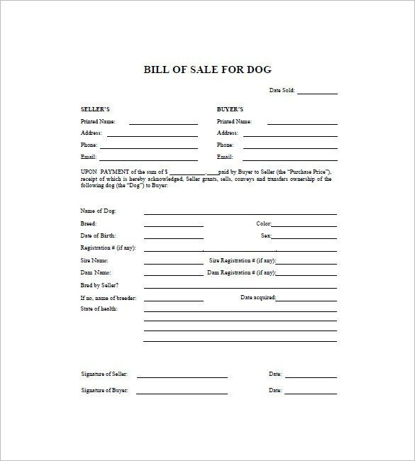 Dog Bill of Sale Template – 8+ Free Word, Excel, PDF Format ...