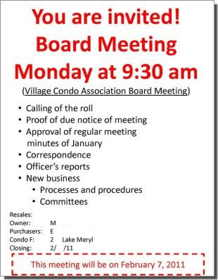 Sample of Bigger Meeting Notice Format For Board Meetings ...
